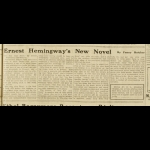 """Clipping of a 19 Dec. 1926 review of """"Ernest Hemingway's New Novel"""" by Fanny Butcher in the Paris Tribune"""